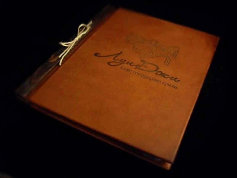 """Кожаное меню для итальянского ресторана """"Луи Джи"""""""