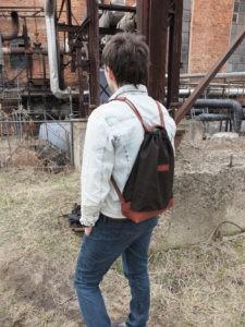Рюкзак-сумка из льняного канваса и кожи