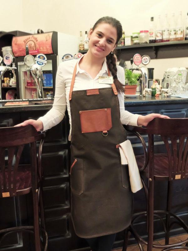 Фартук со вставками из кожи для барменов и официантов