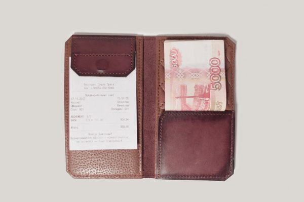 Кожаная счет/чек папка «Шито Крыто».