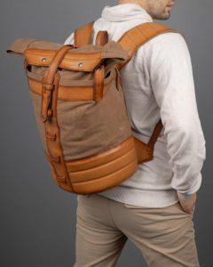 Рюкзак Plane-Tex бежевый с рыжей кожей.
