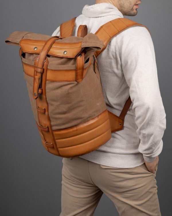 Рюкзак Plane-Tex бежевый с рыжей кожей